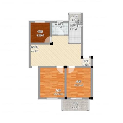 繁裕新村3室1厅1卫1厨95.00㎡户型图