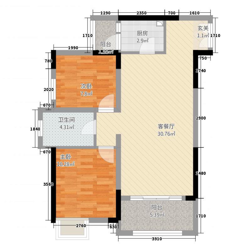 上汇・金悦湾1283.28㎡G户型2室2厅1卫