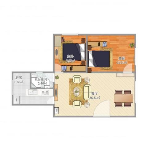 环湖花园24042室1厅1卫1厨77.00㎡户型图