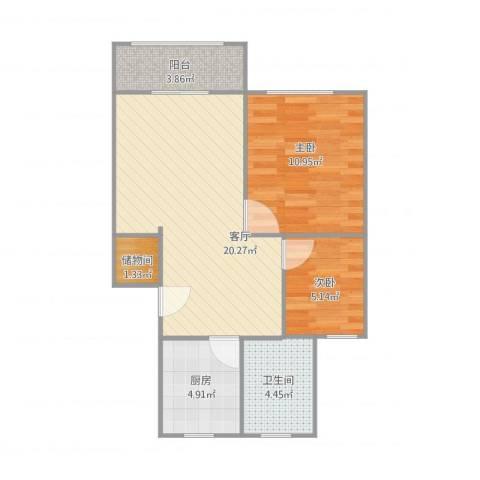 古美西路420弄小区2室1厅1卫1厨68.00㎡户型图