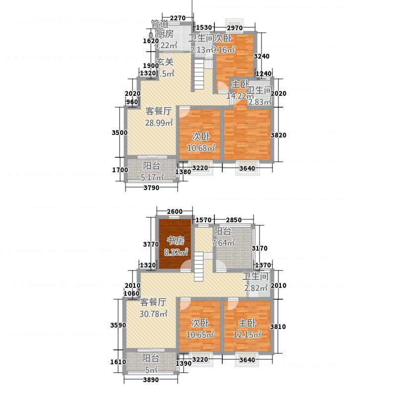 银河新都225.00㎡六期0顶楼复式户型6室3厅2卫1厨