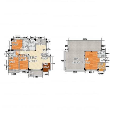 半山家园4室2厅3卫1厨126.02㎡户型图
