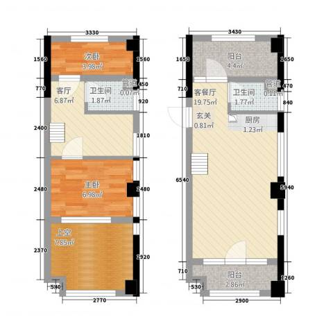 攀华国际广场2室2厅2卫0厨73.00㎡户型图