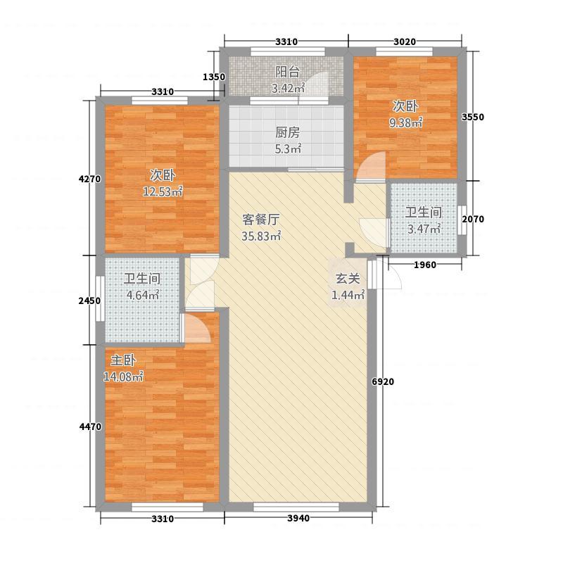 城南壹品3131.58㎡户型3室1厅2卫1厨