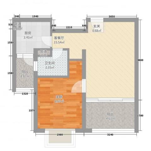 上海裕花园1室1厅1卫1厨55.00㎡户型图