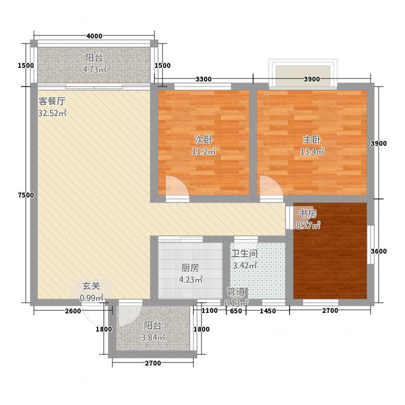 丽月湖岸32111.42㎡N户型3室2厅1卫1厨