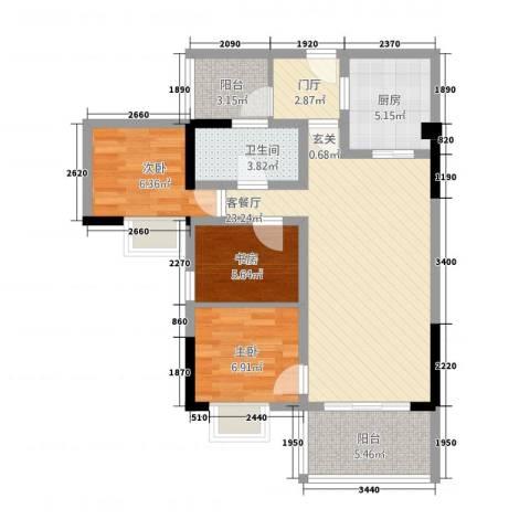 金丰大厦3室1厅1卫1厨93.00㎡户型图