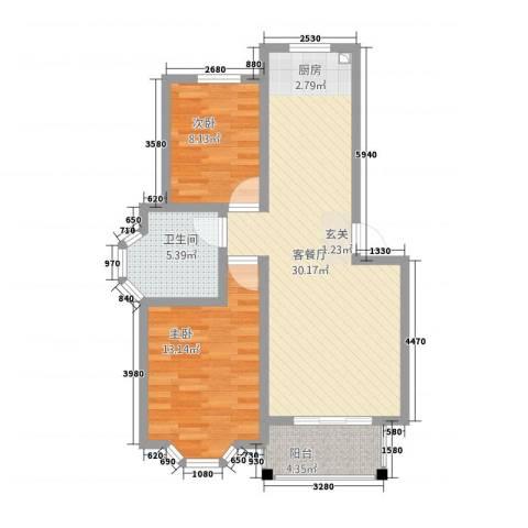 博雅景园2室1厅1卫0厨88.00㎡户型图