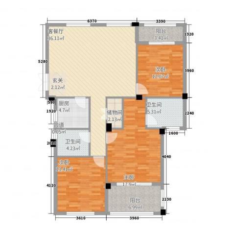 金溪园3室1厅2卫1厨13212.00㎡户型图