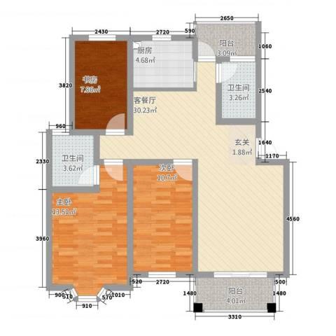 博雅景园3室1厅2卫1厨118.00㎡户型图