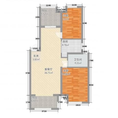 天湖丽景湾2室1厅1卫1厨85.00㎡户型图
