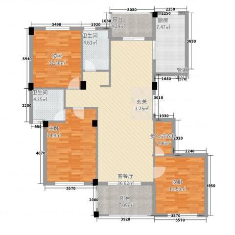 金溪园3室1厅2卫1厨132135.00㎡户型图