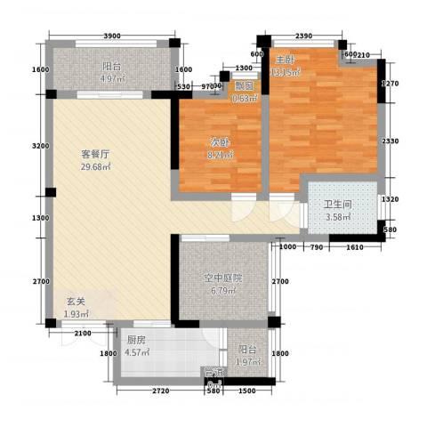 鸥鹏・天境2室1厅1卫1厨722.00㎡户型图