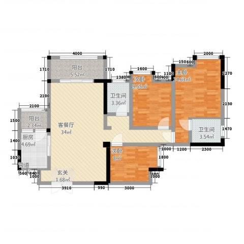 鸥鹏・天境3室1厅2卫1厨63114.00㎡户型图