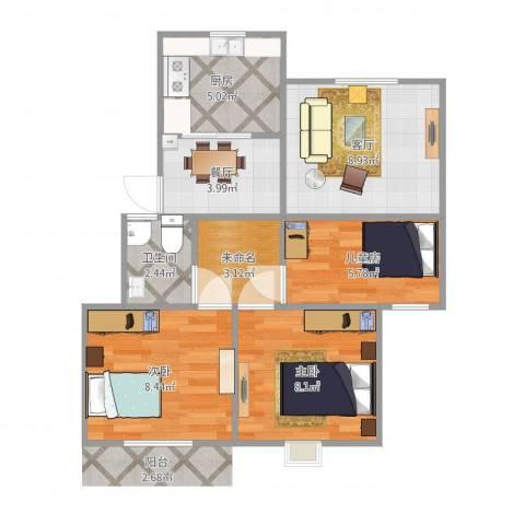西子城3室2厅1卫1厨63.00㎡户型图