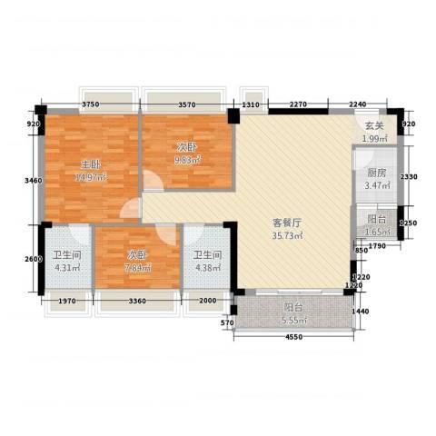 景湖春晓3室1厅2卫1厨123.00㎡户型图