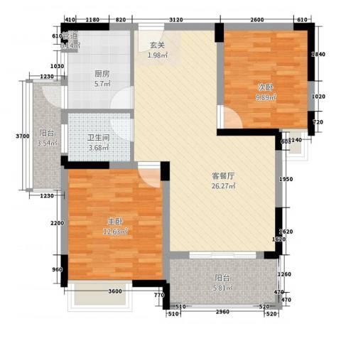 联泰香域滨江2室1厅1卫1厨97.00㎡户型图