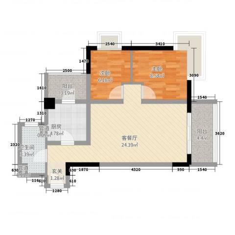 金丰大厦2室1厅1卫1厨81.00㎡户型图