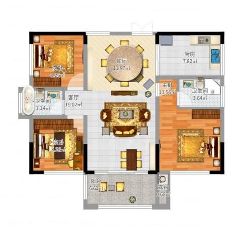 振业城1093室1厅2卫1厨117.00㎡户型图