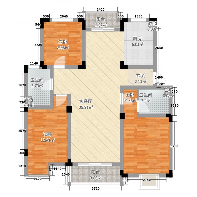 新惠家园130.00㎡3室户型3室2厅1卫1厨