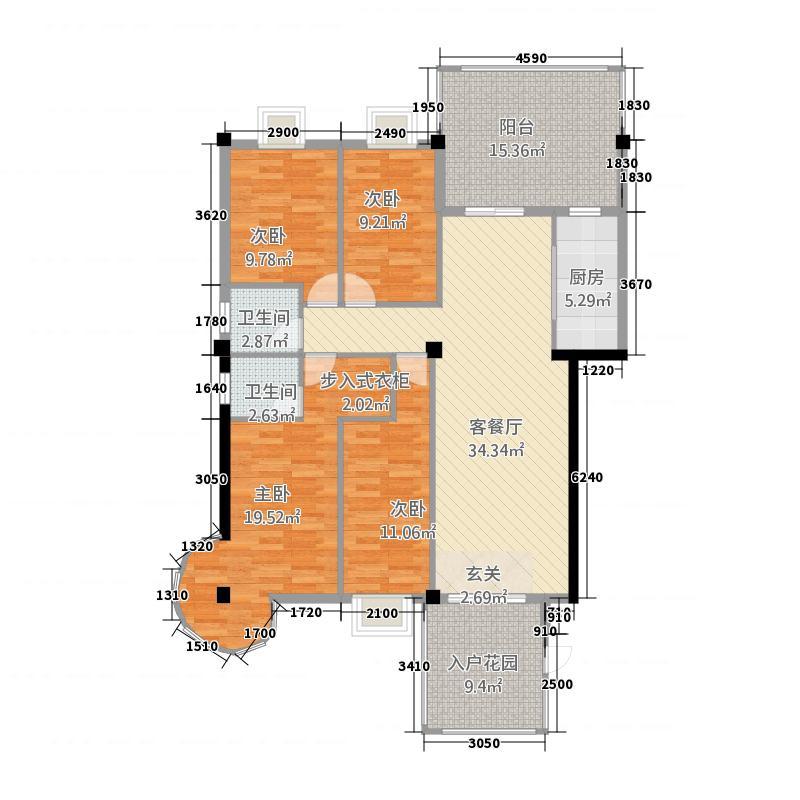 大本海悦花园165.20㎡A户型4室2厅2卫1厨