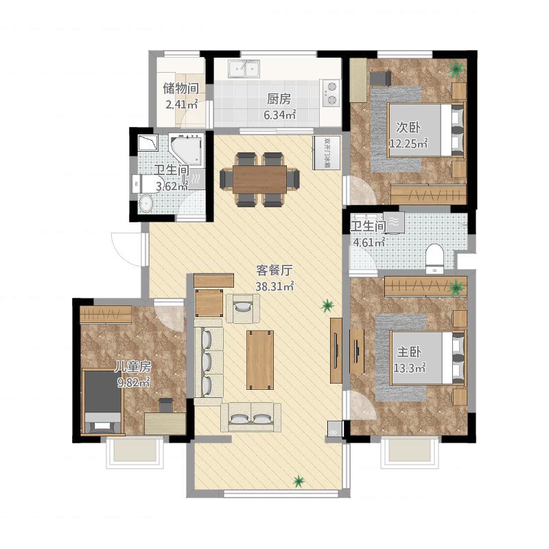 绿谷佳苑127方三室两厅一厨两卫