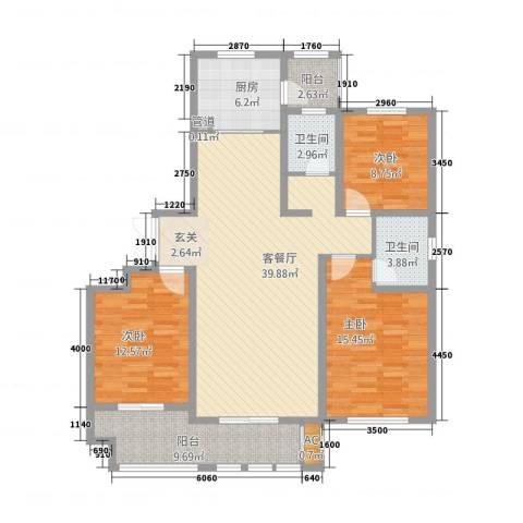 新铭基书香苑3室1厅2卫1厨148.00㎡户型图