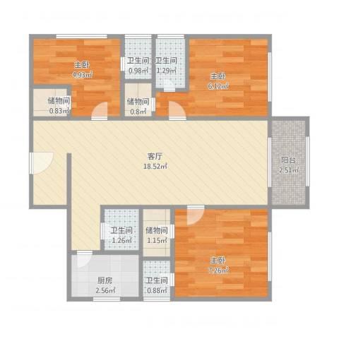 大连明珠3室1厅4卫1厨69.00㎡户型图