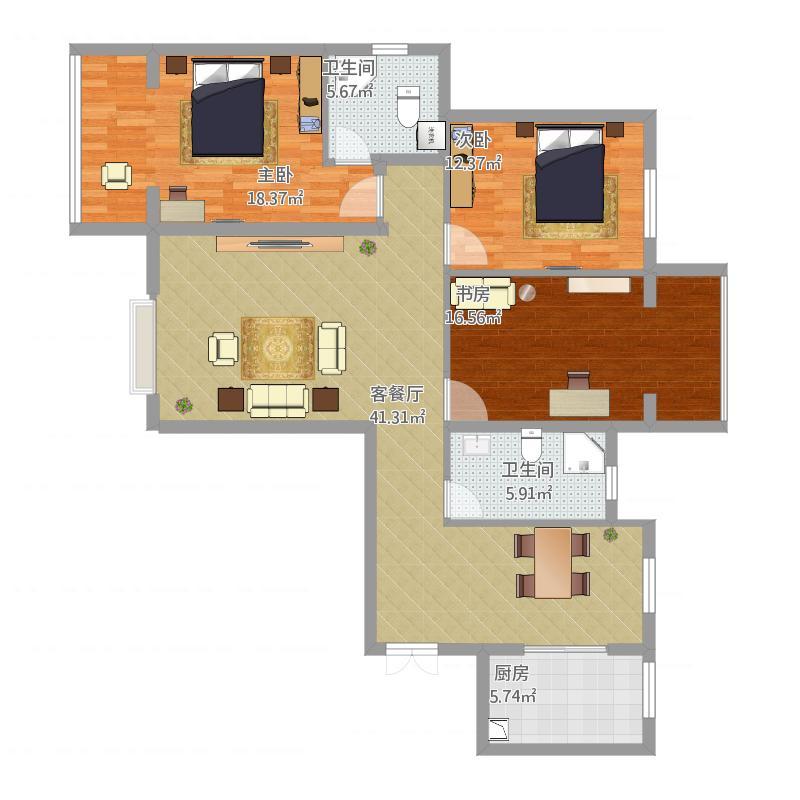 升龙139平米户型C区