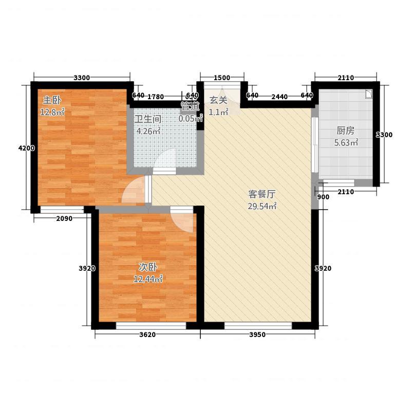 融创王府壹�8.73㎡三期高层1号楼标准层H户型2室1厅1卫1厨