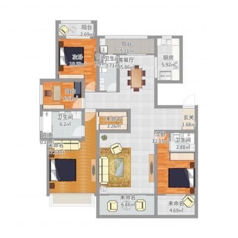 姑苏公馆2室1厅3卫1厨194.00㎡户型图