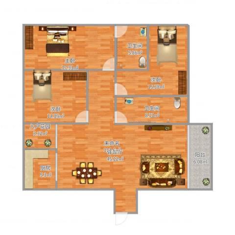 风度广场19座12013室1厅2卫1厨162.00㎡户型图