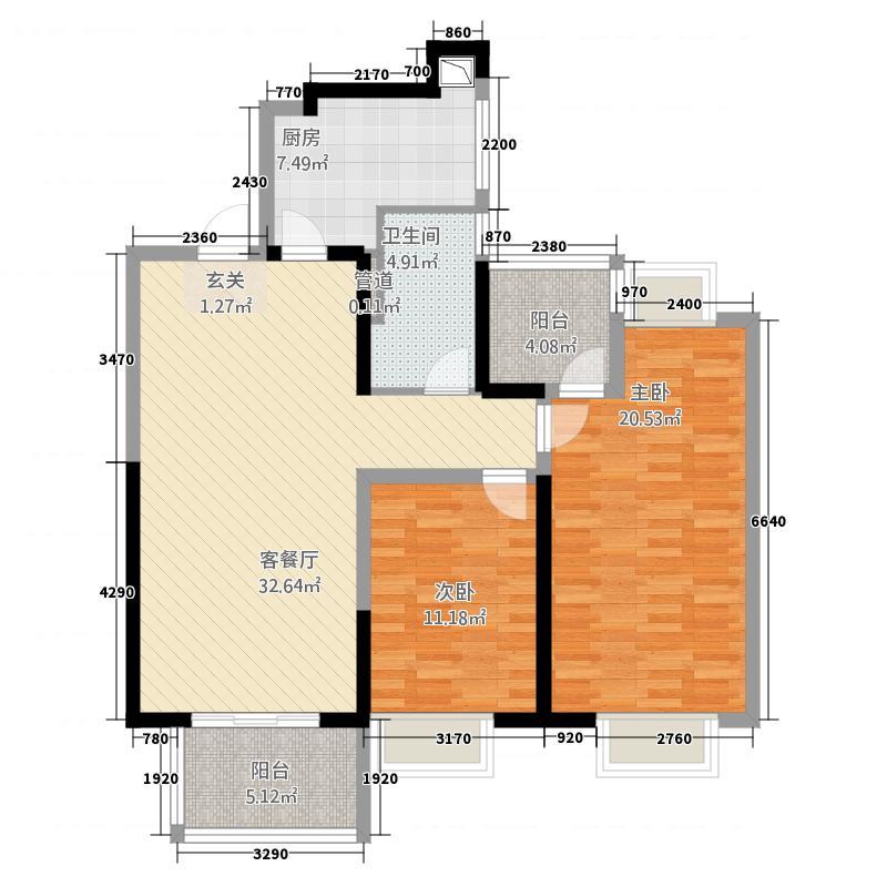 金地湖城艺境126.20㎡一期12、24幢标准层B户型2室2厅1卫1厨