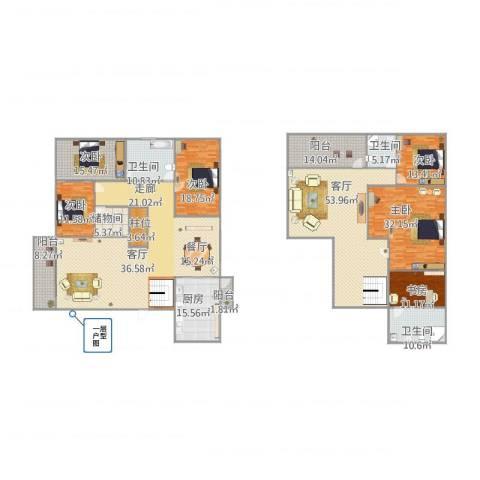 怡翠花园翠竹0803复式6室1厅3卫1厨308.00㎡户型图