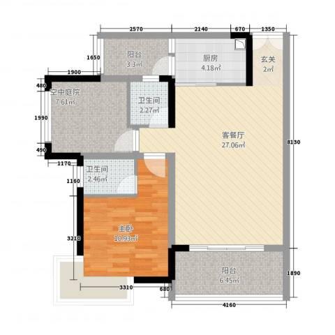 龙川北郡二期1室1厅2卫1厨64.25㎡户型图