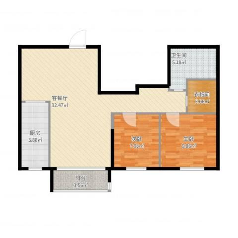 航天城小区2室1厅1卫1厨94.00㎡户型图