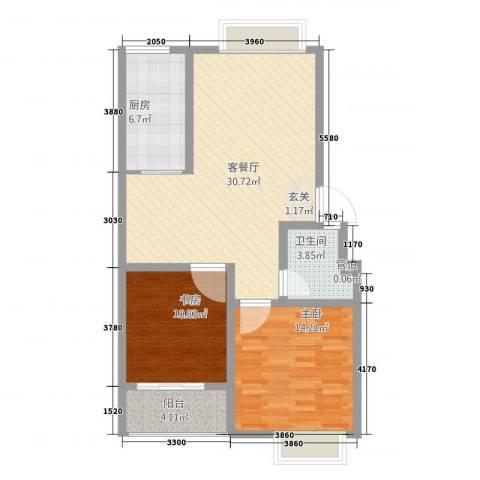 四季春城2室1厅1卫1厨70.47㎡户型图