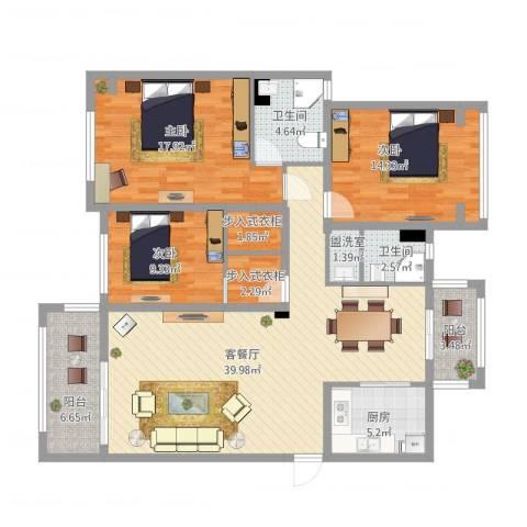 红河云岭・盛世佳园3室2厅2卫1厨158.00㎡户型图