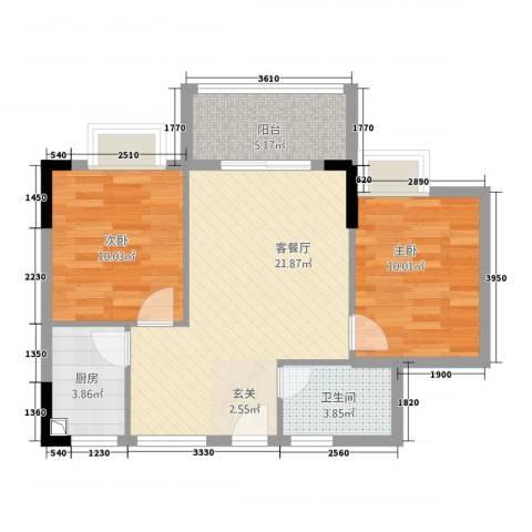东方蓝城一号2室1厅1卫1厨62.14㎡户型图