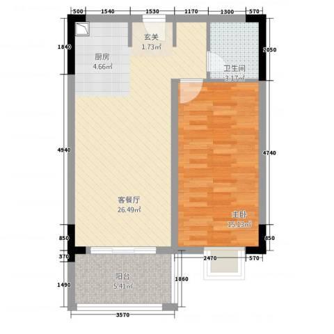 东方蓝城一号1室1厅1卫0厨57.13㎡户型图