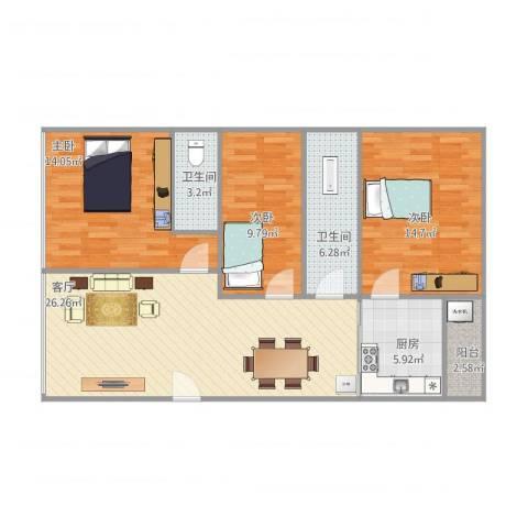 旭翠庭3室1厅2卫1厨112.00㎡户型图