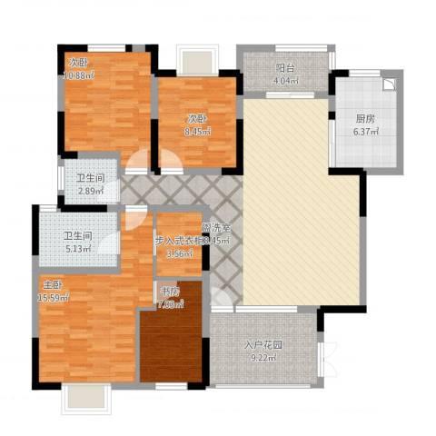惠华花园4室1厅2卫1厨155.00㎡户型图
