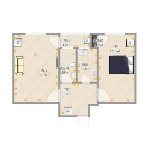 长椿里1室1厅1卫1厨55.00㎡户型图