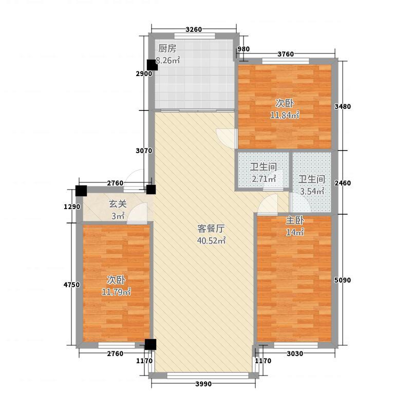 恒福家园128.00㎡20140225010721户型3室2厅1卫1厨