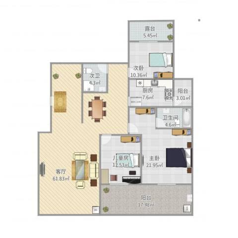 金科东方大院3室1厅1卫1厨199.00㎡户型图