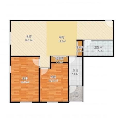 华鸿国际中心2室1厅1卫1厨115.00㎡户型图