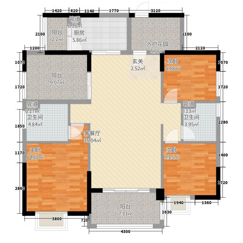 沃华・时代广场137.10㎡2幢05户型3室2厅2卫1厨