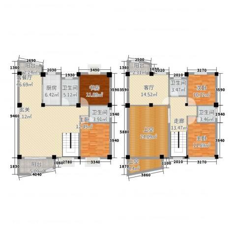 泉南国际新城4室2厅4卫1厨214.00㎡户型图