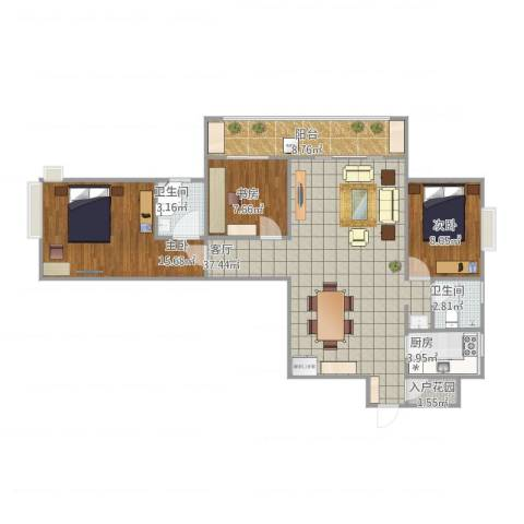 天徽天鹅湖9号3室1厅2卫1厨121.00㎡户型图