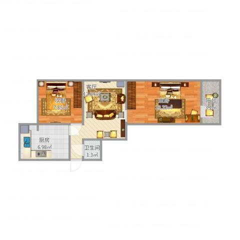 泉舜小区2室1厅1卫1厨61.00㎡户型图